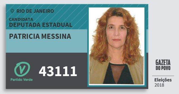 Santinho Patricia Messina 43111 (PV) Deputada Estadual | Rio de Janeiro | Eleições 2018