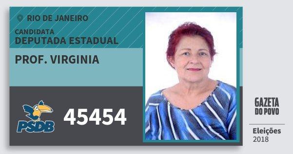 Santinho Prof. Virginia 45454 (PSDB) Deputada Estadual | Rio de Janeiro | Eleições 2018