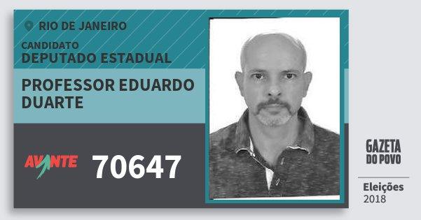 Santinho Professor Eduardo Duarte 70647 (AVANTE) Deputado Estadual   Rio de Janeiro   Eleições 2018