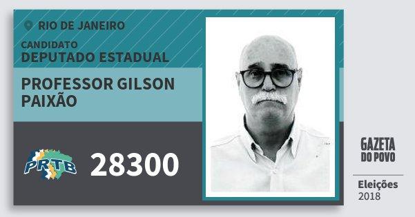 Santinho Professor Gilson Paixão 28300 (PRTB) Deputado Estadual | Rio de Janeiro | Eleições 2018