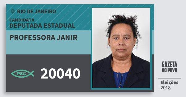 Santinho Professora Janir 20040 (PSC) Deputada Estadual | Rio de Janeiro | Eleições 2018