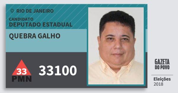 Santinho Quebra Galho 33100 (PMN) Deputado Estadual | Rio de Janeiro | Eleições 2018