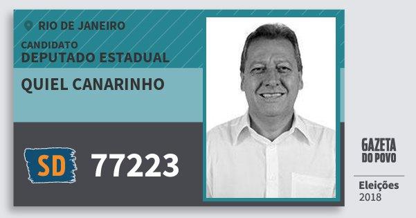 Santinho Quiel Canarinho 77223 (SOLIDARIEDADE) Deputado Estadual | Rio de Janeiro | Eleições 2018