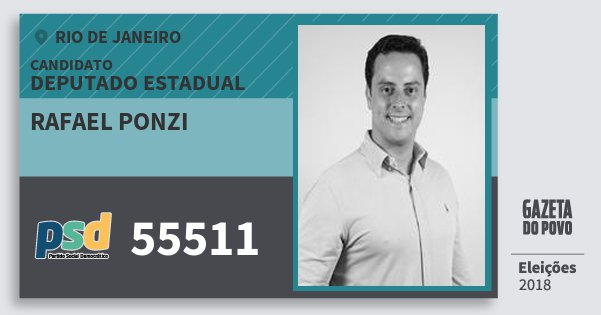 Santinho Rafael Ponzi 55511 (PSD) Deputado Estadual | Rio de Janeiro | Eleições 2018