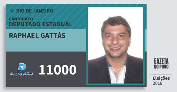 Santinho Raphael Gattás 11000 (PP) Deputado Estadual | Rio de Janeiro | Eleições 2018