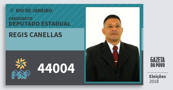 Santinho Regis Canellas 44004 (PRP) Deputado Estadual | Rio de Janeiro | Eleições 2018