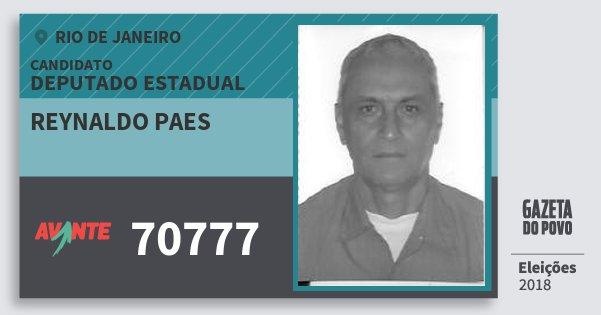 Santinho Reynaldo Paes 70777 (AVANTE) Deputado Estadual | Rio de Janeiro | Eleições 2018
