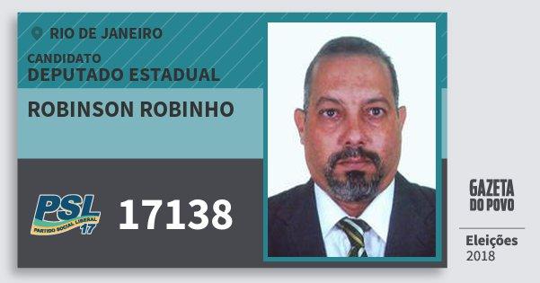 Santinho Robinson Robinho 17138 (PSL) Deputado Estadual   Rio de Janeiro   Eleições 2018