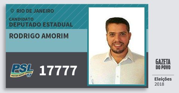 Santinho Rodrigo Amorim 17777 (PSL) Deputado Estadual | Rio de Janeiro | Eleições 2018