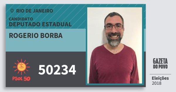 Santinho Rogerio Borba 50234 (PSOL) Deputado Estadual | Rio de Janeiro | Eleições 2018