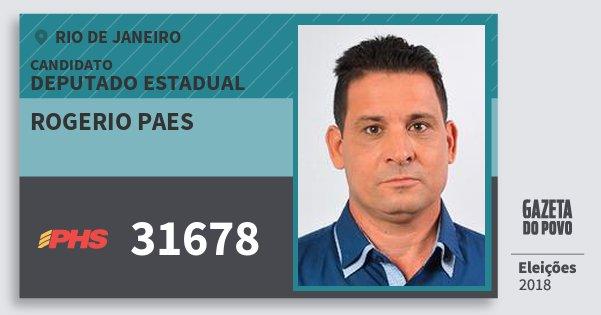 Santinho Rogerio Paes 31678 (PHS) Deputado Estadual | Rio de Janeiro | Eleições 2018