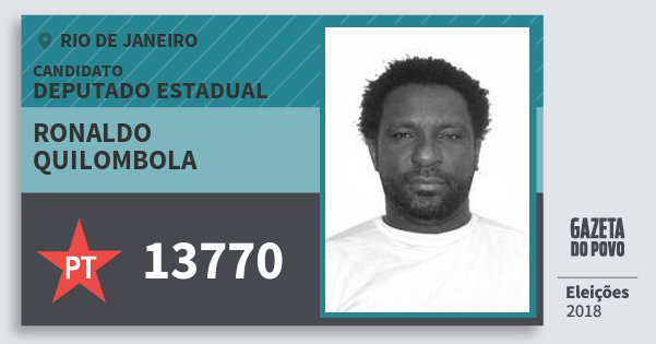 Santinho Ronaldo Quilombola 13770 (PT) Deputado Estadual | Rio de Janeiro | Eleições 2018