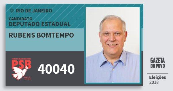 Santinho Rubens Bomtempo 40040 (PSB) Deputado Estadual | Rio de Janeiro | Eleições 2018