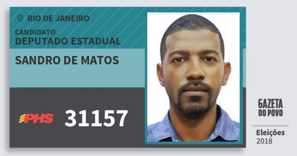 Santinho Sandro de Matos 31157 (PHS) Deputado Estadual | Rio de Janeiro | Eleições 2018