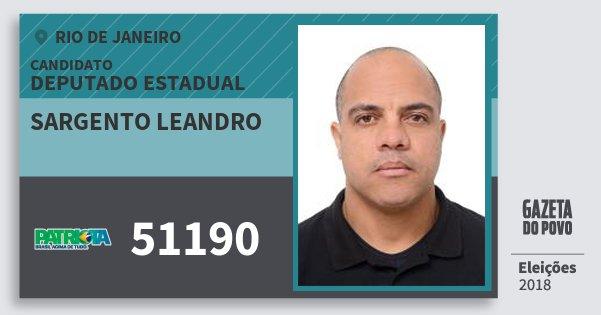 Santinho Sargento Leandro 51190 (PATRI) Deputado Estadual | Rio de Janeiro | Eleições 2018