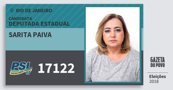 Santinho Sarita Paiva 17122 (PSL) Deputada Estadual   Rio de Janeiro   Eleições 2018