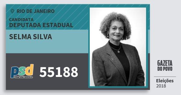 Santinho Selma Silva 55188 (PSD) Deputada Estadual | Rio de Janeiro | Eleições 2018