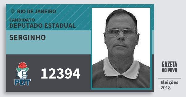 Santinho Serginho 12394 (PDT) Deputado Estadual | Rio de Janeiro | Eleições 2018