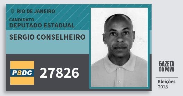 Santinho Sergio Conselheiro 27826 (DC) Deputado Estadual   Rio de Janeiro   Eleições 2018