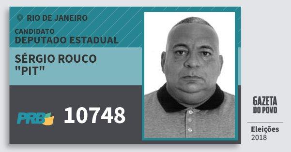 """Santinho Sérgio Rouco """"pit"""" 10748 (PRB) Deputado Estadual   Rio de Janeiro   Eleições 2018"""