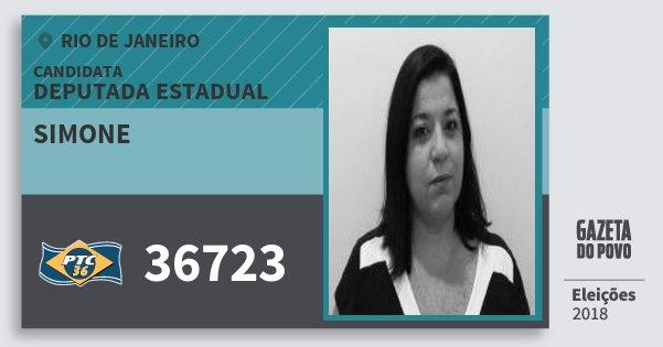 Santinho Simone 36723 (PTC) Deputada Estadual   Rio de Janeiro   Eleições 2018