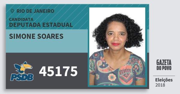 Santinho Simone Soares 45175 (PSDB) Deputada Estadual | Rio de Janeiro | Eleições 2018