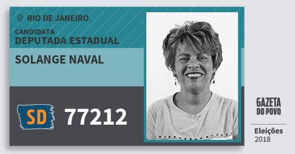 Santinho Solange Naval 77212 (SOLIDARIEDADE) Deputada Estadual | Rio de Janeiro | Eleições 2018