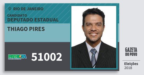 Santinho Thiago Pires 51002 (PATRI) Deputado Estadual | Rio de Janeiro | Eleições 2018
