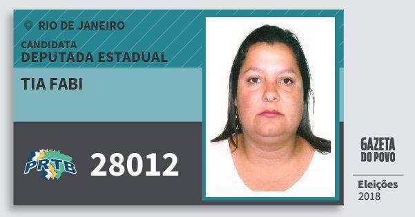 Santinho Tia Fabi 28012 (PRTB) Deputada Estadual | Rio de Janeiro | Eleições 2018