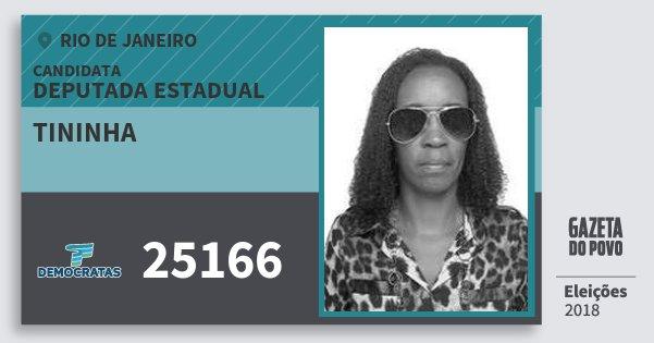 Santinho Tininha 25166 (DEM) Deputada Estadual | Rio de Janeiro | Eleições 2018