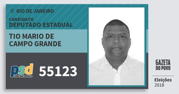 Santinho Tio Mario de Campo Grande 55123 (PSD) Deputado Estadual | Rio de Janeiro | Eleições 2018
