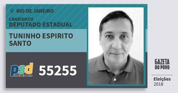 Santinho Tuninho Espirito Santo 55255 (PSD) Deputado Estadual | Rio de Janeiro | Eleições 2018