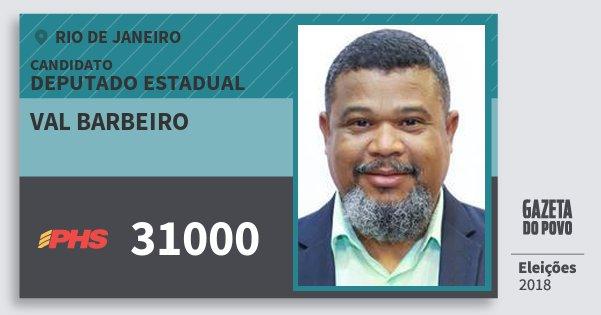 Santinho Val Barbeiro 31000 (PHS) Deputado Estadual | Rio de Janeiro | Eleições 2018