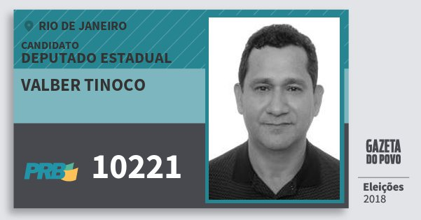 Santinho Valber Tinoco 10221 (PRB) Deputado Estadual | Rio de Janeiro | Eleições 2018
