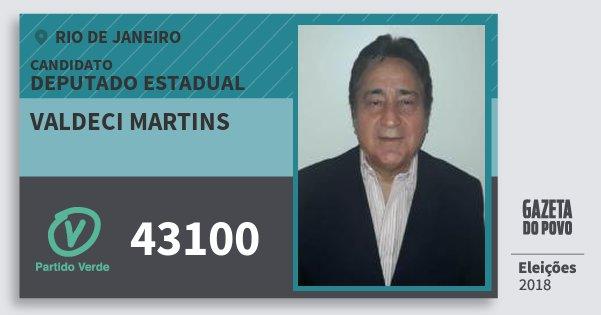 Santinho Valdeci Martins 43100 (PV) Deputado Estadual | Rio de Janeiro | Eleições 2018