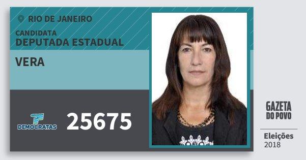 Santinho Vera 25675 (DEM) Deputada Estadual   Rio de Janeiro   Eleições 2018
