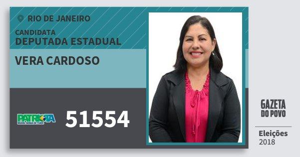 Santinho Vera Cardoso 51554 (PATRI) Deputada Estadual | Rio de Janeiro | Eleições 2018