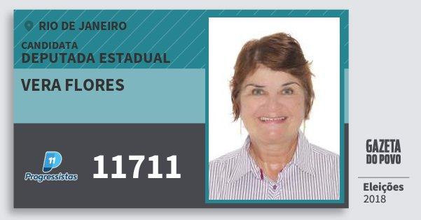 Santinho Vera Flores 11711 (PP) Deputada Estadual | Rio de Janeiro | Eleições 2018