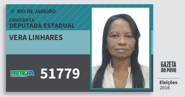 Santinho Vera Linhares 51779 (PATRI) Deputada Estadual | Rio de Janeiro | Eleições 2018