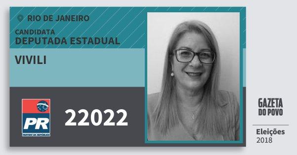 Santinho Vivili 22022 (PR) Deputada Estadual | Rio de Janeiro | Eleições 2018