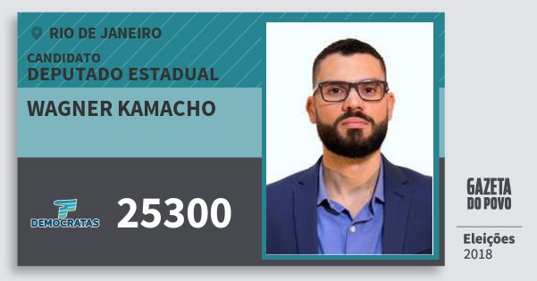 Santinho Wagner Kamacho 25300 (DEM) Deputado Estadual | Rio de Janeiro | Eleições 2018