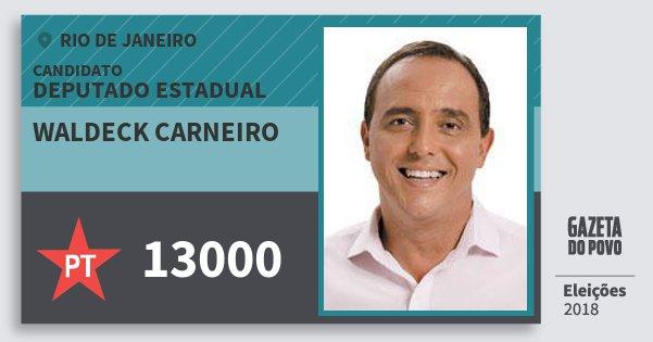 Santinho Waldeck Carneiro 13000 (PT) Deputado Estadual | Rio de Janeiro | Eleições 2018