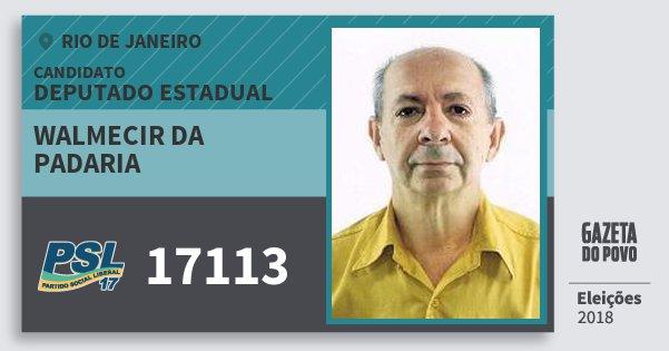 Santinho Walmecir da Padaria 17113 (PSL) Deputado Estadual   Rio de Janeiro   Eleições 2018