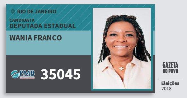Santinho Wania Franco 35045 (PMB) Deputada Estadual   Rio de Janeiro   Eleições 2018