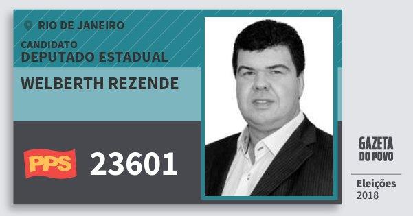 Santinho Welberth Rezende 23601 (PPS) Deputado Estadual | Rio de Janeiro | Eleições 2018