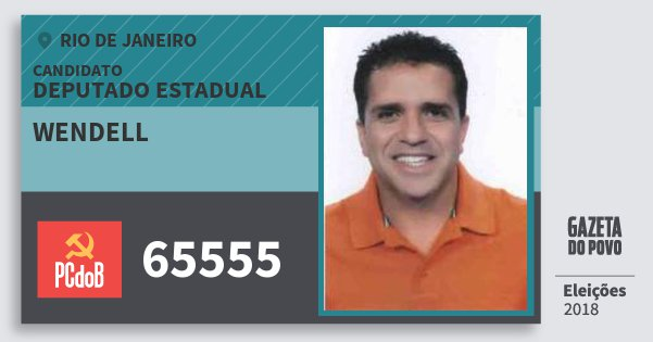Santinho Wendell 65555 (PC do B) Deputado Estadual | Rio de Janeiro | Eleições 2018