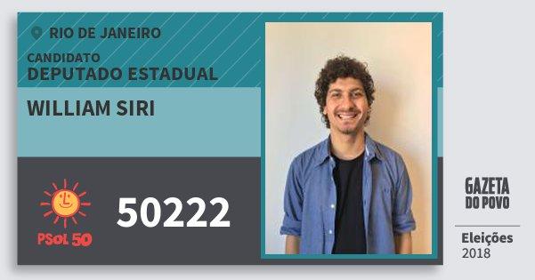 Santinho William Siri 50222 (PSOL) Deputado Estadual | Rio de Janeiro | Eleições 2018