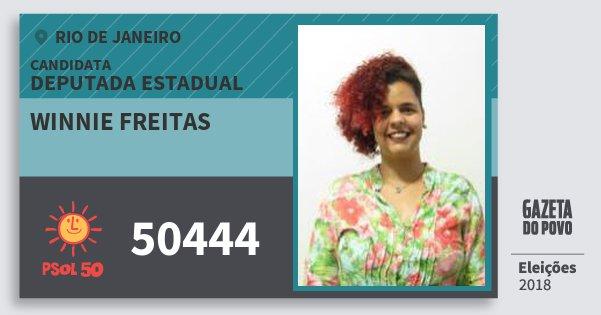 Santinho Winnie Freitas 50444 (PSOL) Deputada Estadual   Rio de Janeiro   Eleições 2018