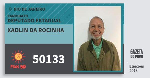 Santinho Xaolin da Rocinha 50133 (PSOL) Deputado Estadual   Rio de Janeiro   Eleições 2018