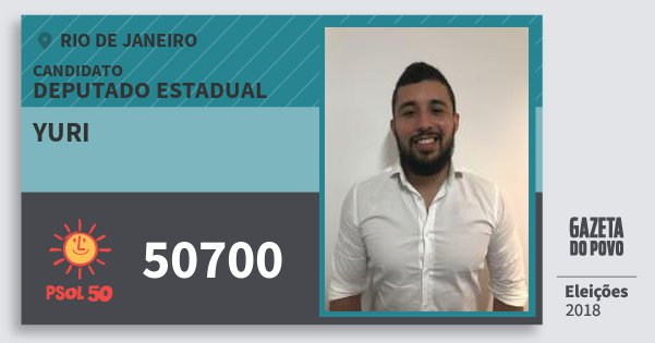 Santinho Yuri 50700 (PSOL) Deputado Estadual | Rio de Janeiro | Eleições 2018